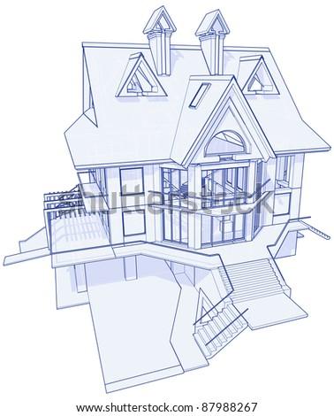 3d Blueprint House: Technical Draw. Bitmap Copy My Vector ID 17455726