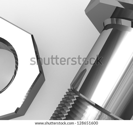 3d Bolt and nut - stock photo