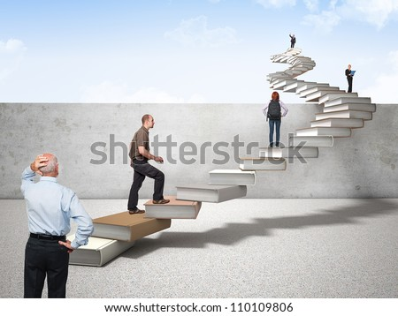 3d book stair and different people on it