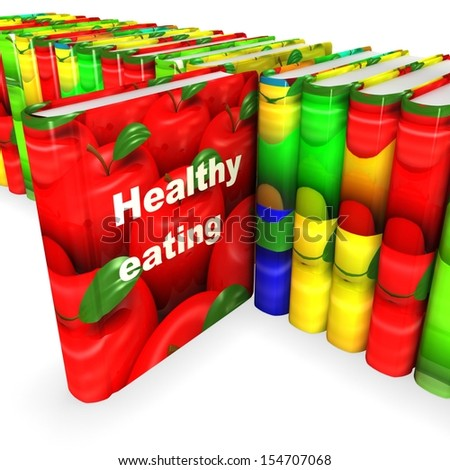 3d book with apple cover. Healthy eating concept - stock photo