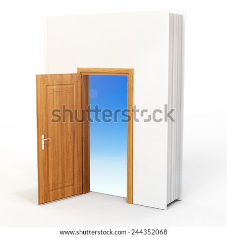 3D book with opened door on white background - stock photo