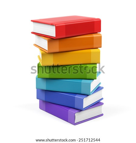 3d books isolated on white background - stock photo