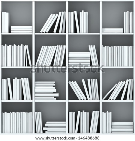 3d books on shelf - stock photo