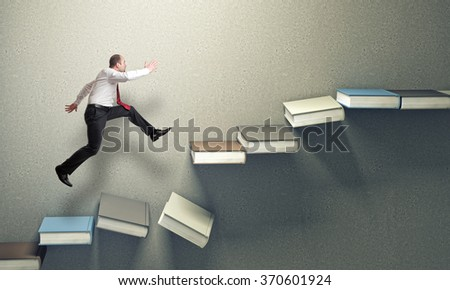 3d books stair falling down and jumping man