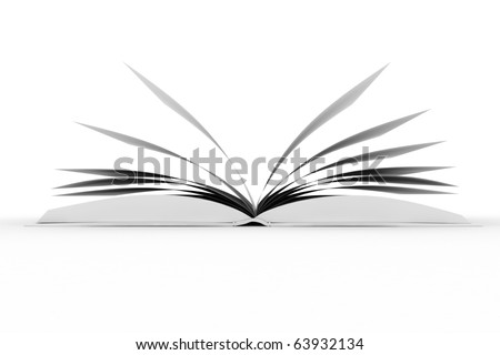 3d books with blank cover and pages , isolated on white - stock photo