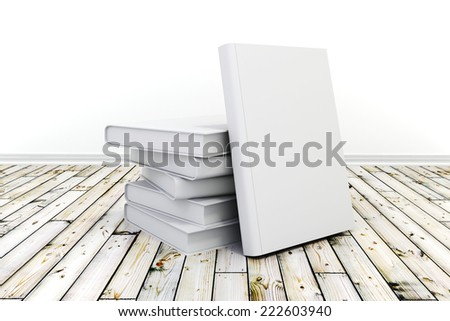 3d books with blank covers on wooden floor - stock photo