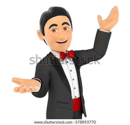 3d bow tie people. Tuxedo man presenting something with their hands up. Isolated white background. - stock photo