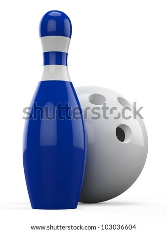 3d Bowling Ball and Pin on white background - stock photo