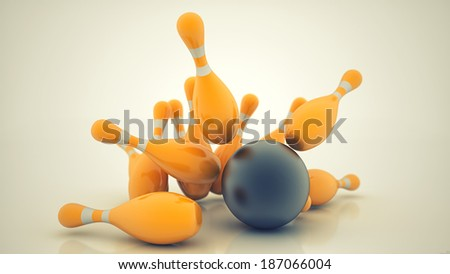 3d Bowling Ball crashing into the pins. High resolution - stock photo