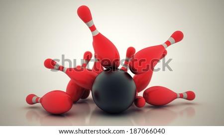 3d Bowling Ball crashing into the pins. High resolution - stock photo