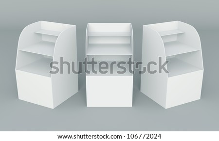 3D Box Display stand for advertising on background - stock photo