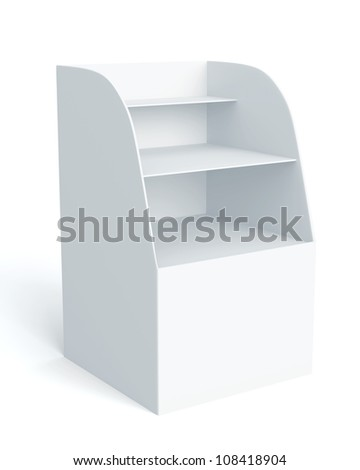 3D Box Display stand for advertising on background. isolated - stock photo