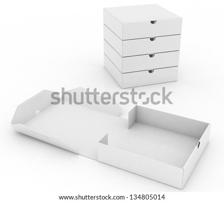 3d box for pizza isolated on white background