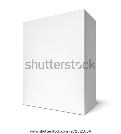 3D. Box, White, Blank. - stock photo