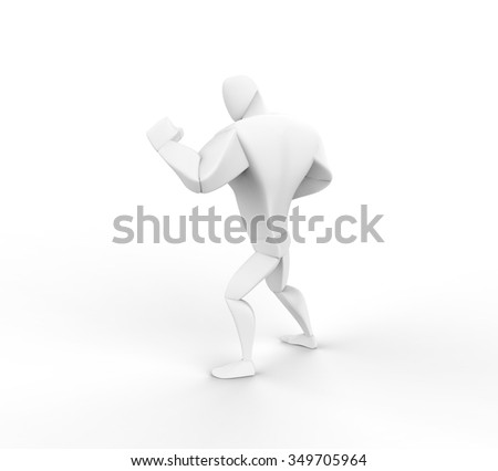 3D Boxer, fight stand, rear view. - stock photo