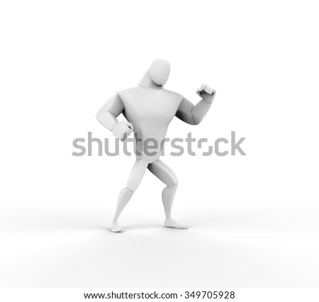 3D Boxer, fight stand, side view. - stock photo