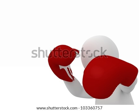 3D Boxer fighter on white background