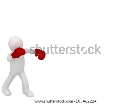 3D Boxer fighter on white background - stock photo