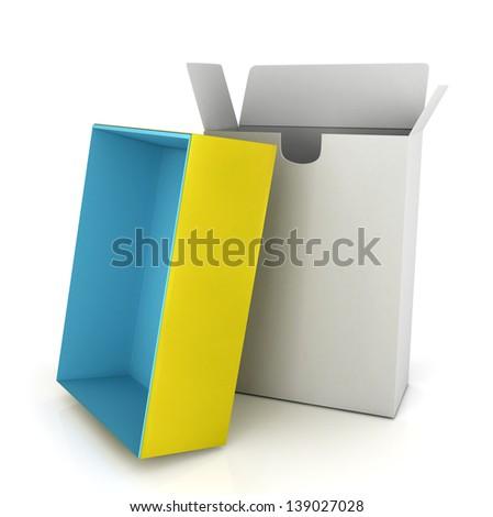 3d boxes on white - stock photo