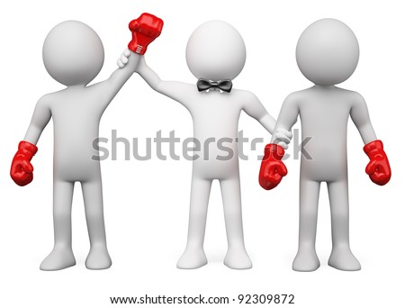 3D Boxing Referee choosing the winner between two boxers. Rendered at high resolution on a white background with diffuse shadows. - stock photo