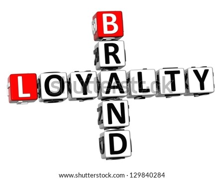 3D Brand Loyalty Crossword on white background - stock photo