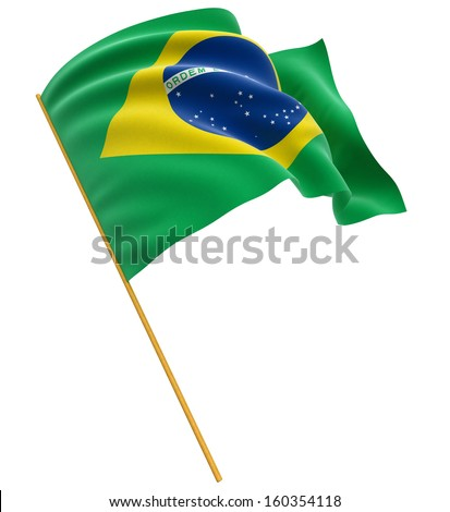 3D Brazilian flag (clipping path included) - stock photo