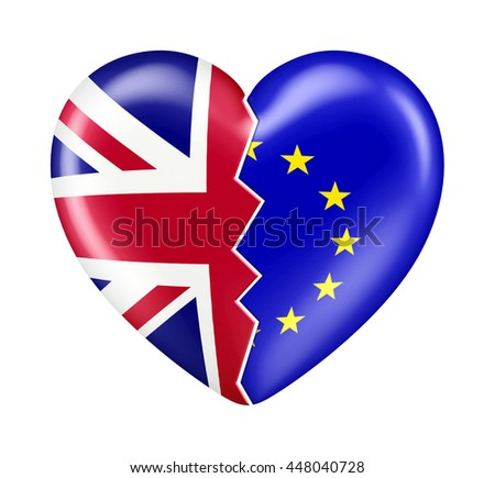 3D Brexit UK European Union Shiny Love Heart Flag isolated on white - stock photo