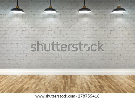3d brick room with ceiling lamp - stock photo