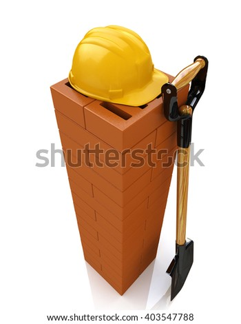 3D brickwork, yellow safety helmet and shovel. Construction concept. Workplace.3D Illustration - stock photo