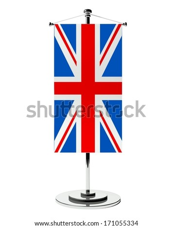 3d British table flag isolated on white - stock photo