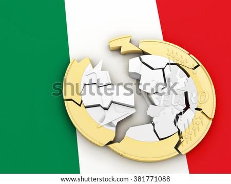 3d broken euro coin on italian flag - stock photo