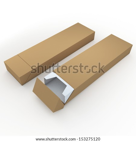 3d brown and white pencils packaging, pens, chocolate, carton box and packaging blank template in isolated with clipping paths, work paths included  - stock photo
