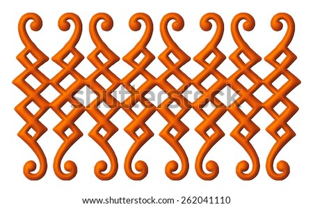 3D brown carved decorative element for background on isolated white background. - stock photo