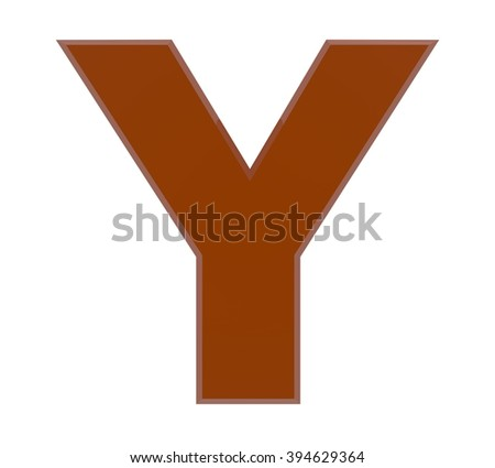 3d brown letter Y collection on white background