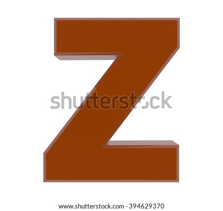 3d brown letter Z collection on white background
