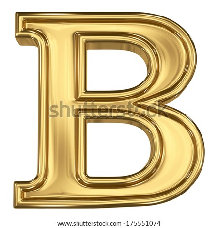 3d brushed golden letter - B. Isolated on white. - stock photo