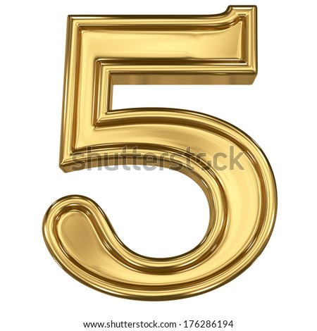 3d brushed golden symbol - figure number five. Isolated on white. - stock photo
