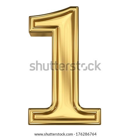 3d brushed golden symbol - figure number one. Isolated on white. - stock photo