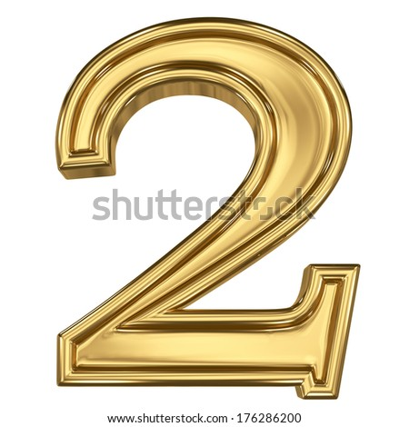 3d brushed golden symbol - figure number two. Isolated on white. - stock photo