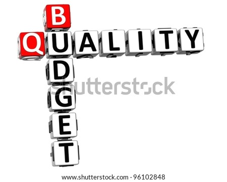 3D Budget Quality text Crossword over white background - stock photo