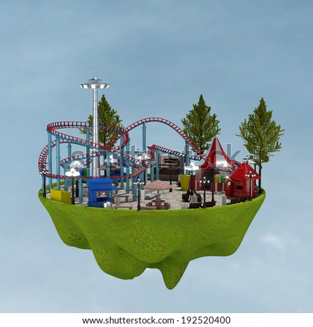 3d building a theme park in the background. - stock photo