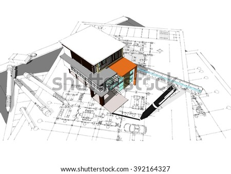 3 d building and drawings plan new house