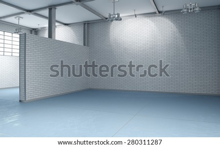 3d building interior with white brick walls and blue flooring without furnishing