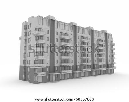 3d building isolated on white rendered generic - stock photo