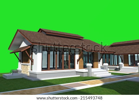 3d buildings isolated on green  - stock photo