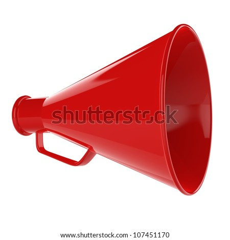 3D Bullhorn... Retro megaphone in a red color isolated on white background. - stock photo