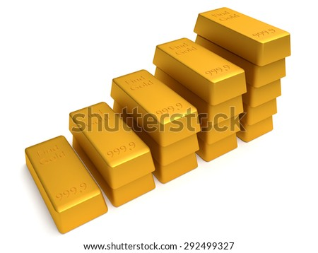 3d bullions of gold lying on each other. Finance concept