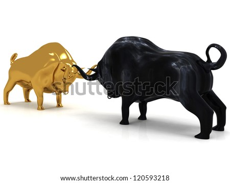 3d Bulls - stock photo