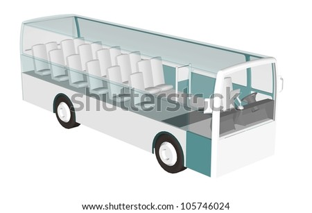 3D bus to see inside. - stock photo