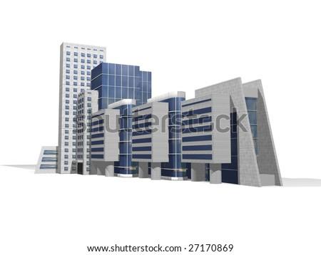 3D Business center - stock photo